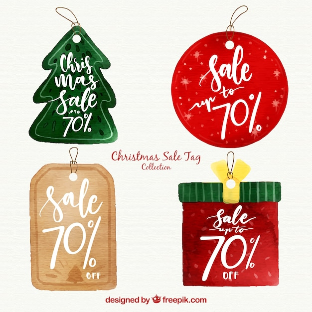 Set of retro stickers for christmas sales Free Vector