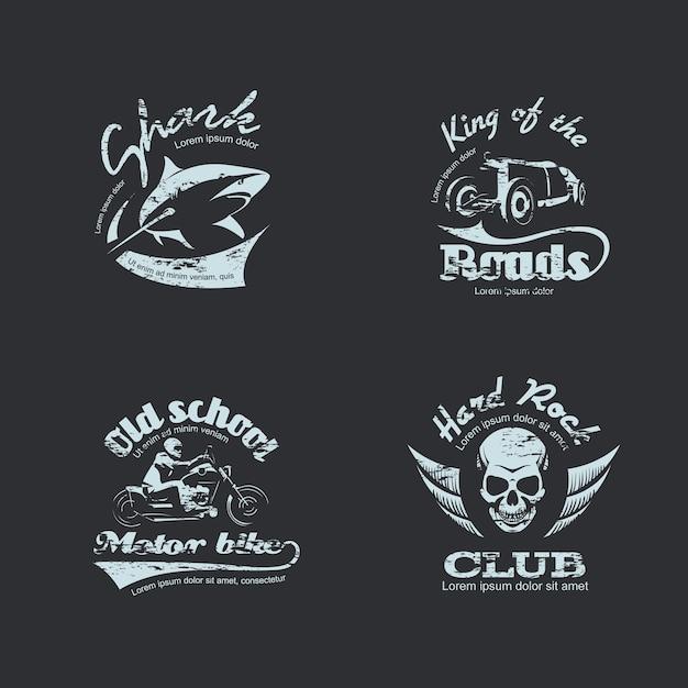 Набор ретро старинных логотипов Premium векторы