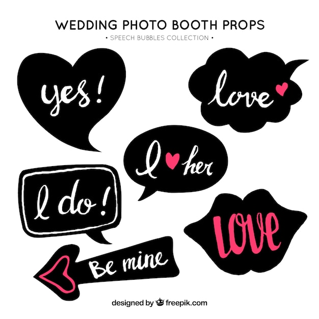 Set of retro wedding dialog balloons Free Vector