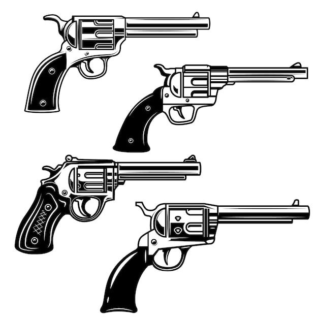 白い背景の上の拳銃のセット。ロゴ、ラベル、エンブレム、記号の要素。画像 Premiumベクター