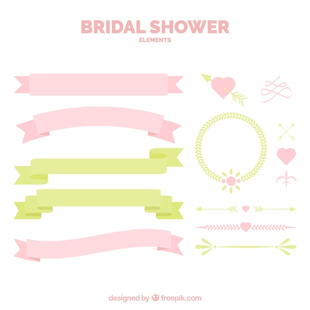 Set of ribbons and wedding decoration in pastel tones Free Vector