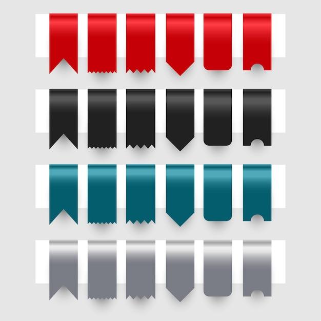 リボンタグラベルデザインのセット 無料ベクター