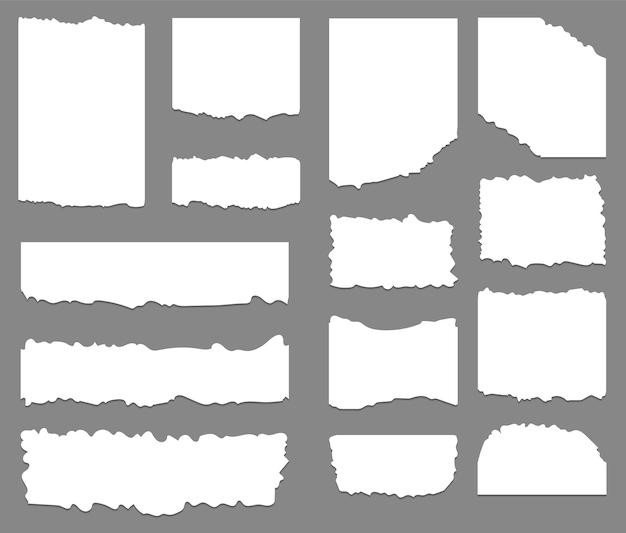 Набор разорванной и рваной бумаги фона Premium векторы