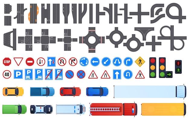道路セグメントのセット。道路標識、信号機。車の上面図。道路交通。 Premiumベクター