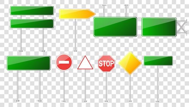 Набор дорожных знаков, изолированных на прозрачном фоне. Premium векторы