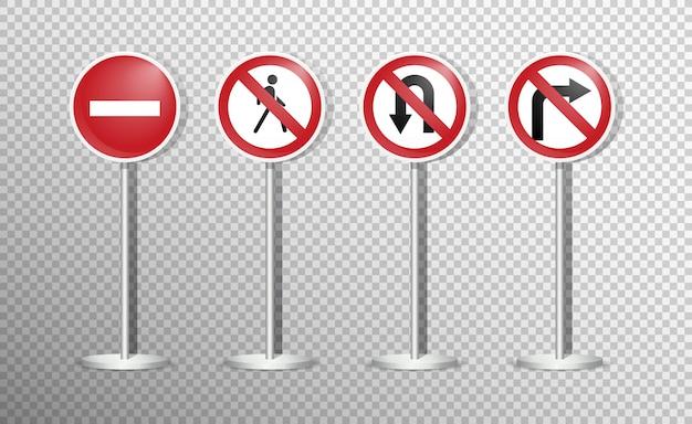 Набор дорожных знаков, изолированных на прозрачной. , Premium векторы