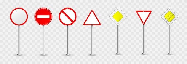 도로 표지판의 집합입니다. 도로 표지판 . 우선 표지판, 표지판 금지. 프리미엄 벡터