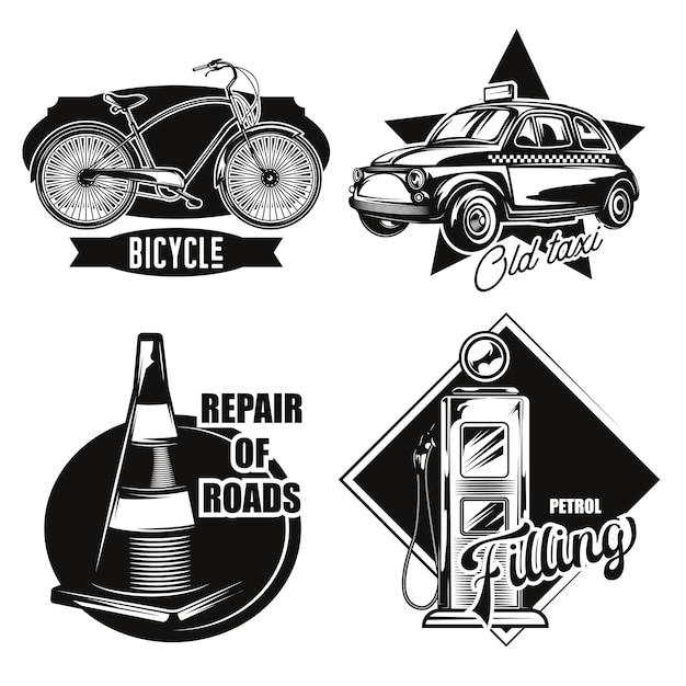 Набор эмблем автомобильного транспорта Бесплатные векторы