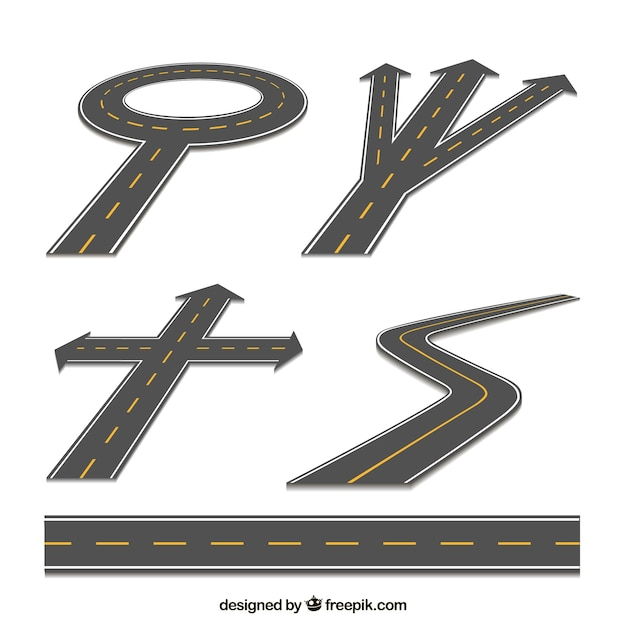 Set of roads Free Vector