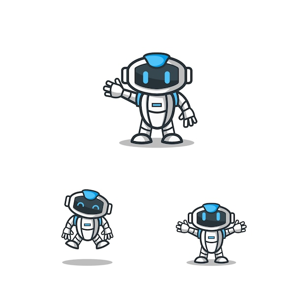 set of robot character logo mascot template vector