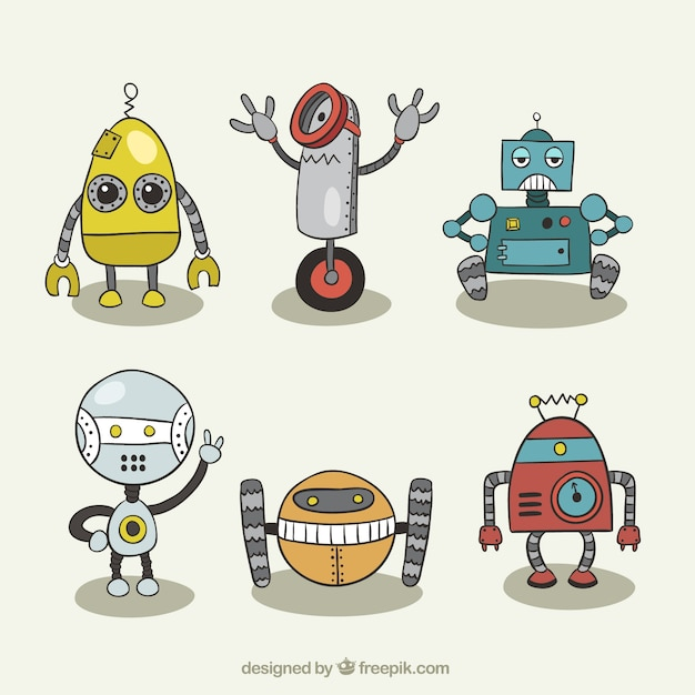 Set of robot drawings  Free Vector
