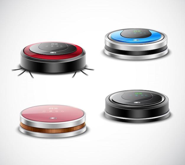 Набор роботизированных пылесосов Бесплатные векторы
