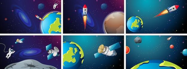 ロケットと地球のシーンのセット 無料ベクター