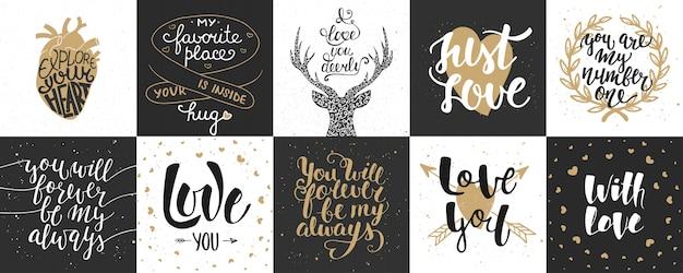 Набор романтической и любовной рисованной надписи Premium векторы