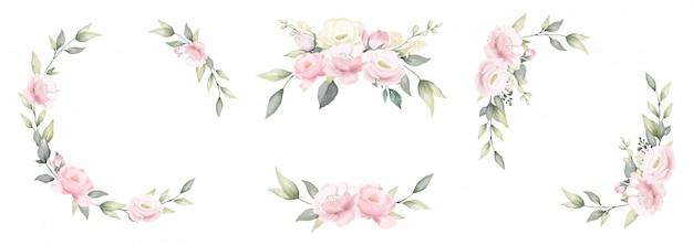 Набор розового цветка акварель рамка розовый и белый букет цветов дизайн. Premium векторы