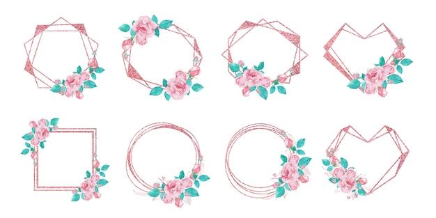 웨딩 모노그램 로고 및 브랜딩 로고 디자인을위한 로즈 골드 플라워 프레임 세트 무료 벡터