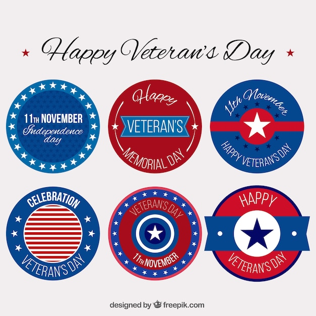 Set of round badges for veterans day