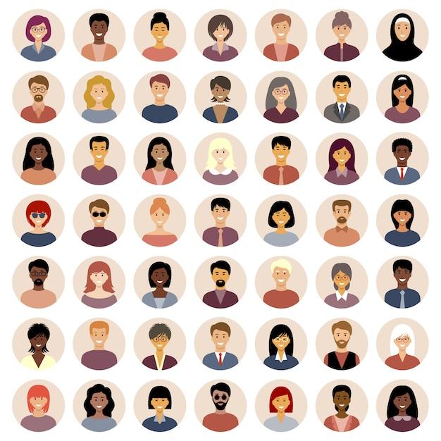 Набор круглых плоских иконок с людьми. разные национальности. Premium векторы