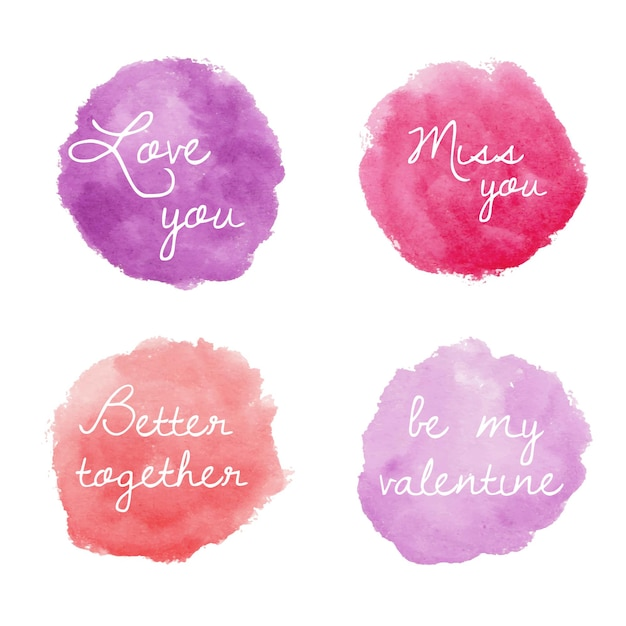 ピンクと紫のバレンタインのラウンド水彩バッジのセット 無料ベクター