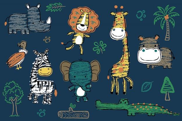 手描きスタイルのサファリ動物漫画のセット Premiumベクター
