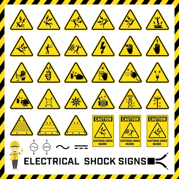 Set of safety caution signs and symbols Vector | Premium Download