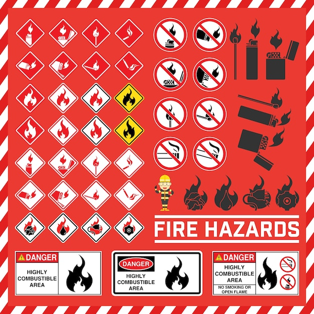 Set Of Safety Signs And Symbol Of Fire Hazard Vector Premium Download