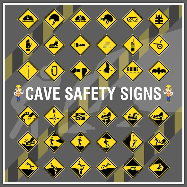 Set Of Safety Signs And Symbols Of Cave Cave Safety Signs Vector