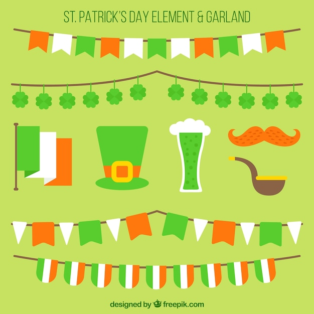 Set of saint patrick's day elements and garlands