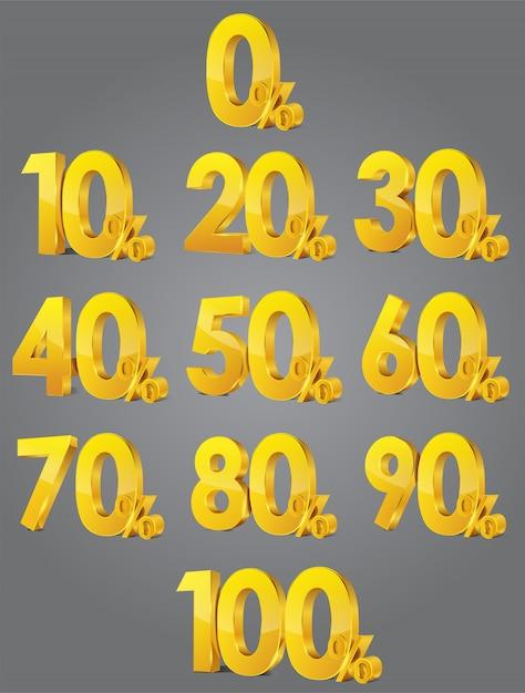 販売パーセントのセット。体積の光沢のある数字とパーセント記号のセット。 3dベクトル Premiumベクター
