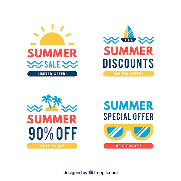 Set of sale summer badges with holiday\ elements