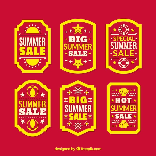 Set of sale summer labels with holiday elements Free Vector