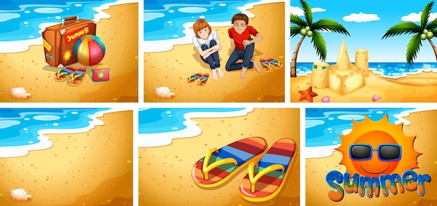 모래 해변 배경 세트 무료 벡터