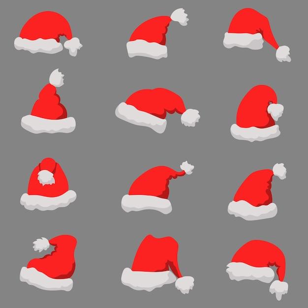 Набор шляп санта-клауса рождественская тема. Premium векторы