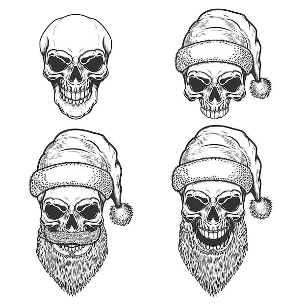 白い背景の上のサンタクロースの頭蓋骨のセット。クリスマスの悪夢。ロゴ、ラベル、サイン、ポスター、tシャツの要素。図 Premiumベクター