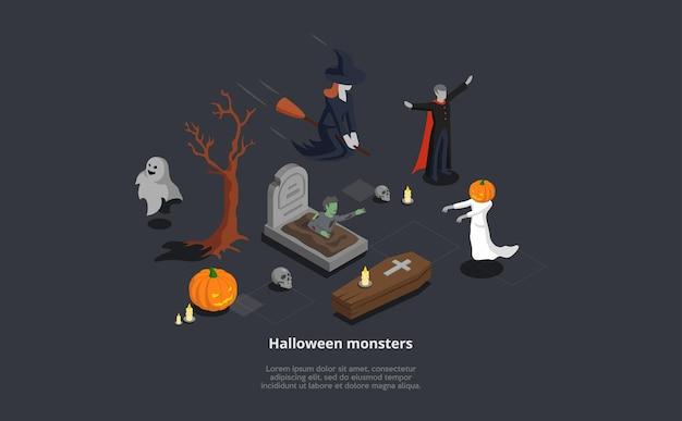 怖い等尺性ハロウィーンモンスターのセット。神秘的なキャラクターの魔女、吸血鬼、幽霊、ゾンビのベクトル3d構成。 loremipsumテキスト Premiumベクター
