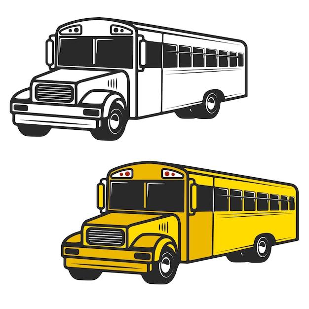 흰색 바탕에 스쿨 버스 아이콘 세트 로고, 라벨, 엠블럼, 사인, 브랜드 마크 요소 프리미엄 벡터