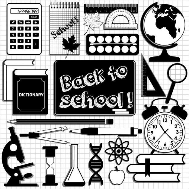 مجموعه ای از عناصر مدرسه را در سیاه و سفید