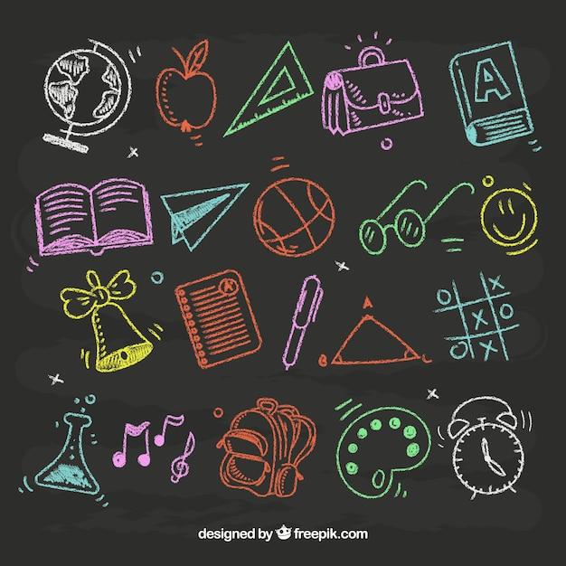 Набор школьных элементов в стиле доски Premium векторы