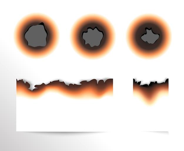 Набор выжженного куска бумаги и сгоревших отверстий на белом фоне изолированных иллюстрация. Premium векторы