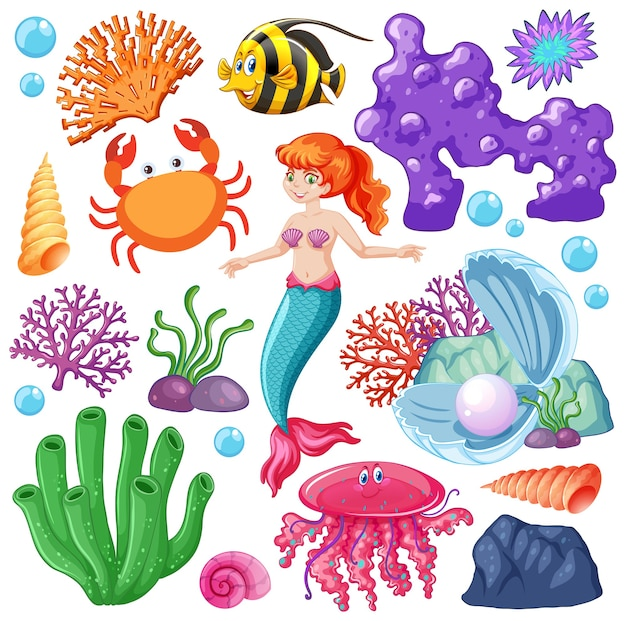 Набор морских животных и мультяшный персонаж русалки на белом Бесплатные векторы