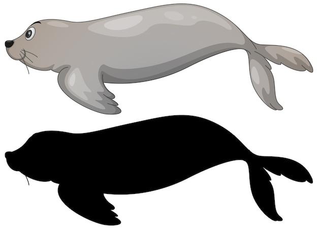바다 사자 문자 집합과 흰색 실루엣 무료 벡터
