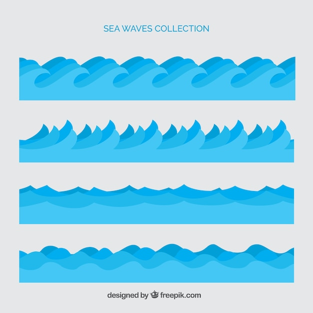 Set of sea waves Free Vector
