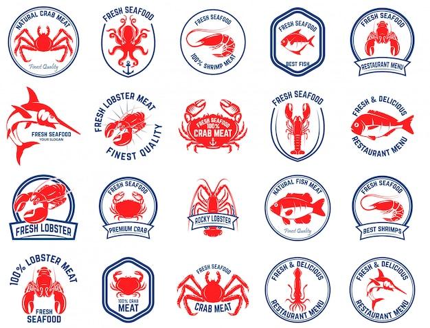 Набор эмблем рынка морепродуктов. элемент для логотипа, этикетки, эмблемы, знака. иллюстрация Premium векторы
