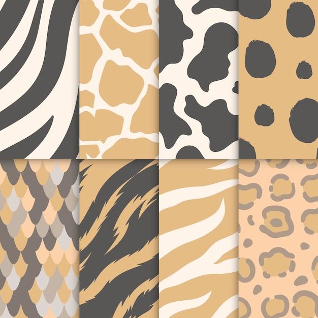 원활한 동물 인쇄 패턴의 집합 무료 벡터