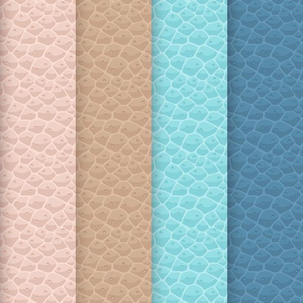 Набор бесшовных текстур кожи. мягкая цветовая палитра. розовато-бежевые, коричневые, бирюзовые и приглушенные синие оттенки. чистая поверхность из кожзаменителя с реалистичным повторяющимся рисунком. Premium векторы