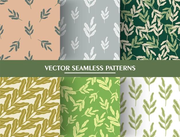 빈티지 잎 가지 실루엣으로 최소한의 스타일로 완벽 한 패턴의 집합입니다. 프리미엄 벡터