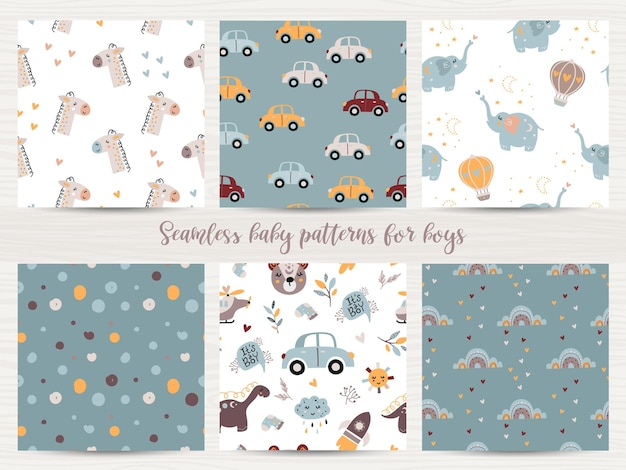 아기 소년을위한 완벽 한 패턴의 집합입니다. 포장지 및 스크랩북 그림 프리미엄 벡터
