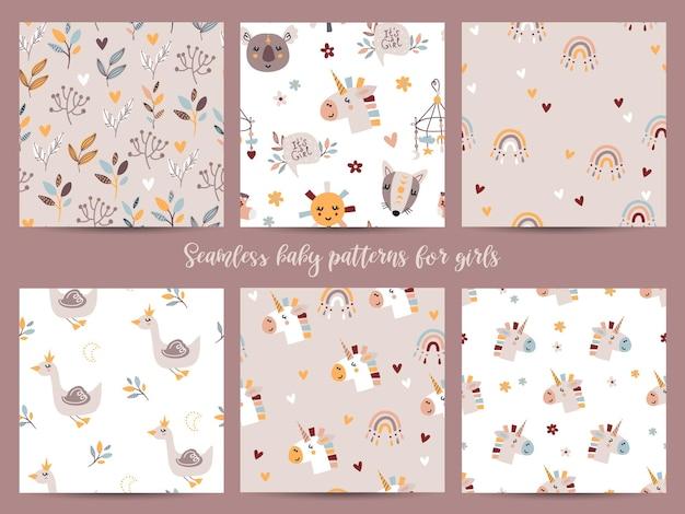 Набор бесшовных паттернов для девочек. иллюстрация для оберточной бумаги и скрапбукинга Premium векторы