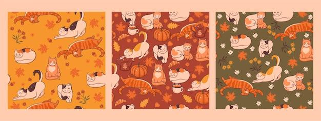 秋の猫とのシームレスなパターンのセット。 Premiumベクター