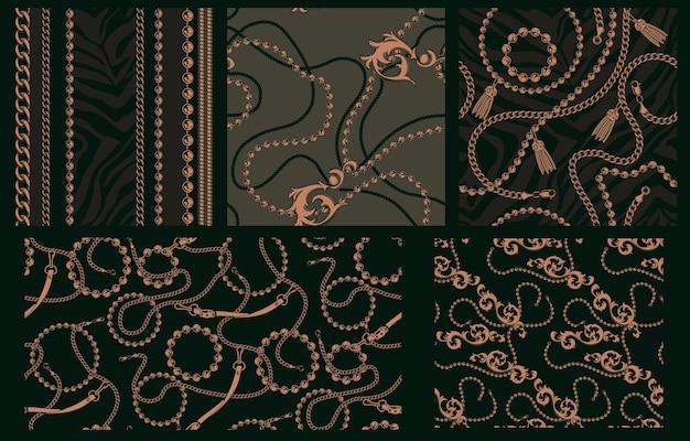 Набор бесшовных паттернов с цепями. каждый узор находится в отдельной группе. идеально подходит для печати на текстильных фабриках. Premium векторы